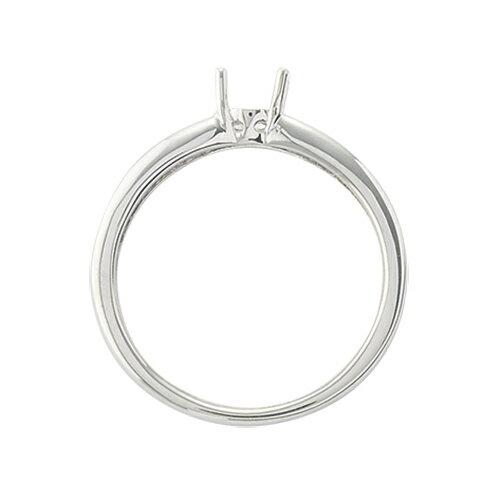 指輪 18金 ホワイトゴールド 天然石 バゲットメレのサイド一文字リング 主石の直径約4.4mm 四本爪留め|K18WG 18k  貴金属 ジュエリー レディース メンズ