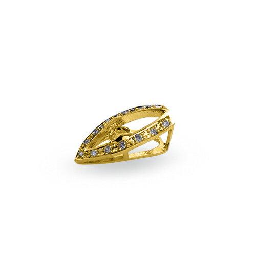 ペンダントトップ 18金 イエローゴールド 天然石 V字ラインにメレが並んだ一粒ペンダント 主石の直径約4.4mm レール留め ペンダントヘッドのみ|K18YG 18k  貴金属 ジュエリー レディース メンズ