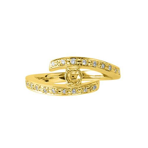 指輪 18金 イエローゴールド 天然石 メレがラインになったサイドストーンリング 主石の直径約5.2mm ウェーブ レール留め|K18YG 18k  貴金属 ジュエリー レディース メンズ