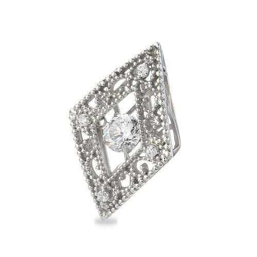 ペンダントトップ PT900 天然石 主石が揺れるメレ付きのダイヤ型透かしデザインペンダント 主石の直径約5.2mm ダンシングストーン ペンダントヘッドのみ|プラチナ  貴金属 ジュエリー レディース メンズ