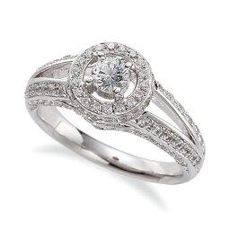指輪 PT900 プラチナ 天然石 メレがラインになった取り巻きリング 主石の直径約3.8mm 割り腕 四本爪留め|900pt 貴金属 ジュエリー レディース メンズ