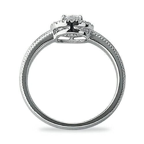 指輪 PT900 天然石 両端ミル打ちの取り巻きリング 主石の直径約4.1mm 四本爪留め|プラチナ  貴金属 ジュエリー レディース メンズ