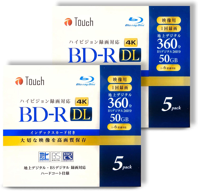 録画・録音用メディア, ブルーレイディスクメディア BD-R DL 50GB 10 DL52 DL 2 1-6 1 BD-R50DL5210 TouchE-