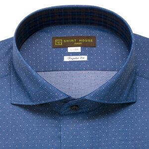 ワイシャツメンズ2018秋新作ドレスシャツシャツシャツハウスレギュラーフィットブルーデニムジーンズ水玉ドットワイドカラーカッタウェイMLLL2L