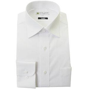 抗ウイルス ワイシャツ 形態安定 長袖 制菌 抗菌 防臭 2020夏 新作 白 ブロード 無地 セミワイドカラー 標準体 シャツハウス メンズ ドレスシャツ M L LL 3L 2021SS