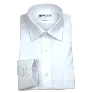 ワイシャツ形態安定メンズ定番ドレスシャツシャツシャツハウススリムフィット細身白無地セミワイドカラーSMLLL2L