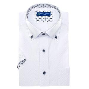 ワイシャツ 形態安定 M L LL 2L 3L 半袖 袖 折り返し 2020夏 新作 父の日 白 ドビー 無地 ボタンダウン レギュラー フィット オフィスカジュアル シャツハウス メンズ ドレスシャツ 父の日