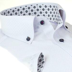 ワイシャツ形態安定MLLL2L3L半袖袖折り返し2020夏新作父の日白ドビー無地ボタンダウンレギュラーフィットオフィスカジュアルシャツハウスメンズドレスシャツ