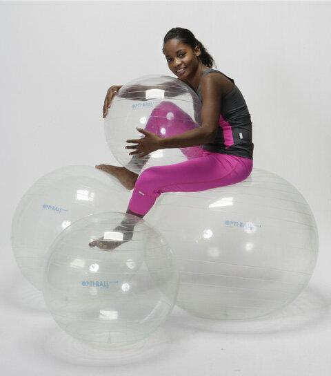 ギムニク オプティボール(Gymnic Opti Ball)バランスボール55cm、透明、クリアドイツ安全規格取得品質腹筋、背筋、体幹トレーニングにエクササイズ、ダイエットに椅子代わりに、リハビリに、腰痛予防に