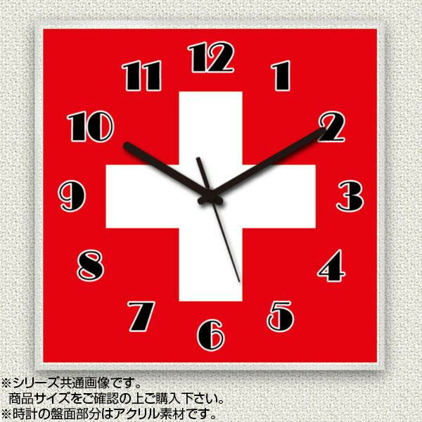 MYCLO(マイクロ) 壁掛け時計 アクリル素材(クリア) 四角 23cm 国旗 スイス(SWITZERLAND) com241