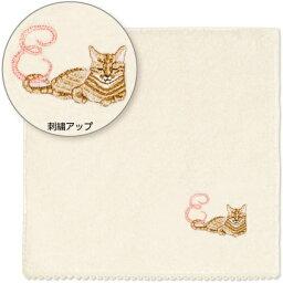 可愛い猫の イニシャル ハンカチ オーガニックコットン [日本製] [E] [キャンセル・変更・返品不可]