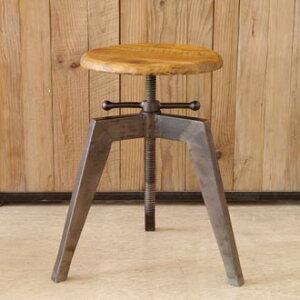 《MOSH》モッシュアイアンクランクスツールビンテージ加工OLDFurniture什器ストアディプレイ椅子チェア木製アイアンIRONアンティーク家具GARTガルトiron-krunk_stool