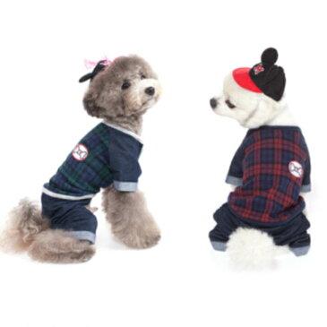犬服 チェックのびのびデニムオールインワン 犬 服 つなぎ ドッグウェア ロンパース