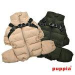 犬服ハーネス一体型防寒ジャンパー背開きオールインワンコートハーネス付き犬服PuppiaドッグウェアSMLサイズ