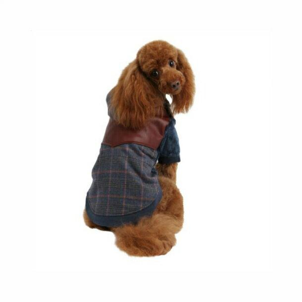 犬服 裏ボア パーカー トレーナー チェックパーカー 犬 服 ドックウェア tee 小型犬 服 Sサイズ puppia