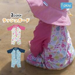 アイプレイ ラッシュガード キッズ ワンピース 女の子 男の子 半袖 ベビーつなぎ 紫外線防止 UPF50+ UVカット プール 海 日焼け対策 iplay 水着