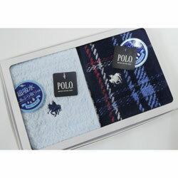POLO ポロ タオルハンカチ メンズ  2枚組 白箱入りギフト サックス無地系&ネイビー地