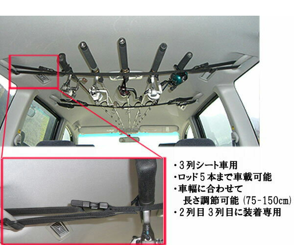 日吉屋 ロッドキャリー 車用 ロッドホルダー&ロッドベルト PV-3RC 3列シート車専用