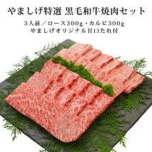 やましげ特選黒毛和牛焼肉セット3人前(ロース300gカルビ300gやましげオリジナル甘口たれ付き)