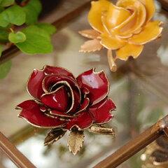 楽天ランキング入賞!艶感のあるバラの花びらが魅力的なアンティークブローチ!ジャケットに帽...