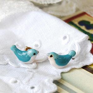 幸せの青い鳥♪今にもさえずりが聞こえそうな二羽の小鳥さんプチピアス!ブルーバード バード 幸運…