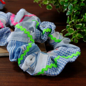 Blue Plaid and stripes quilt with gurleyshushu ♪ naminami fluorescent tape, silver & white tape was accented with hair accessories ◆ Curly Collection: scrunchy blue check patchwork