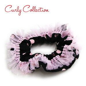 Dots and checks in the edge of the dainty lace scrunchie like cuteness like a ballerina's Tutu dress! Daikan-Yama brand Kali collection new hair accessories ♪ ◆ Curly Collection: chouchou [sweet ballerina]