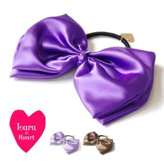 Shiny satin BIG bow hair elastics! Ribbon pony like girls heart charm point hair accessories ◆ &Heart Lara (Lara and heart): satenribonhairgom