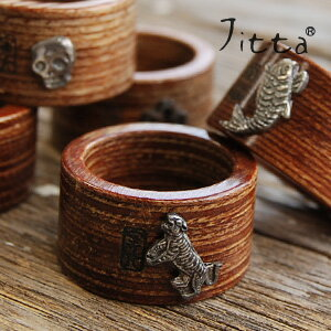 Unisex Japanese ring gender unisex accessories ring wooden yukata Sakura swallow swallow skeleton skull skull Koi staggered Tiger Tiger ladies men's gift ♦ Jitta (jitter): Silver motif with cutting ring