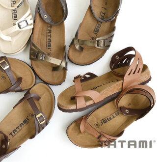 Cross design of the thumb and ankle strap. Narrow (narrow) comfort sandal strap Womens shoes footbed pettanko pettanko walkable flat leather ◆ TATAMI (tatami) Maldives