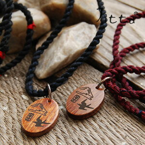 Ikat string x wood charm Japanese taste perfect pendant men and women unisex unisex accessories wooden yukata swallow swallow Bird Bird Mountain Womens mens ◆ Jitta (jitter): Oriental woodcharmicatnecklace [swallow]