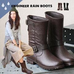 本格的なエンジニアブーツに見えて実は長靴!完全防水になったその秘密は継ぎ目の無い「フェイクステッチ」!ショートブーツのように軽くてブーツインだって簡単/雨靴/レインシューズ/ワークブーツ◆ベルトエンジニアレインブーツ