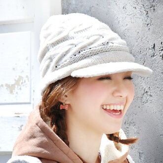 A knit cap with the saliva of the alane knitting feeling of knitting by hand みのようなほっこり ♪ くしゅっと is slow, and to be able to take! Knit hat / cable stitch style /CAP/fs3gm ◆ ノーマアランニットワークキャップ with the saliva with net lining giving glory to a brain quietly ro