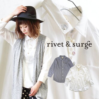 Regular t-shirts, were fitted with a wide variety of decorative buttons were remade. Ladies top shirt blouse long sleeves / 7 sleeves / 7 sleeves rivet &surge ◆ rivet and surge (rivet & surge) Botham Mania stripe & Oxford shirt