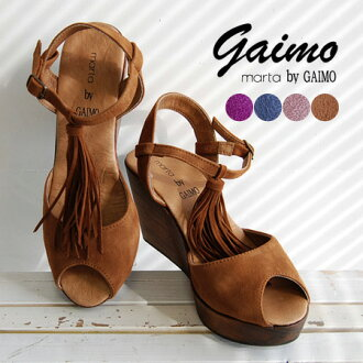 Ankle strap shoes women's shoes platform heels suede leather leather summer ◆ marta by GAIMO (martabigaimo): seed tosselfrinjiwood wedge sole sandal
