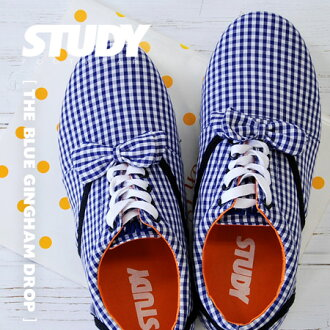 Gingham check pattern Womens shoe flat pettanko plus ribbons, etc. based on simple, light Oxford sneaker pettanko lace-up • STUDY (study): BLUE GINGHAM DROP BOW
