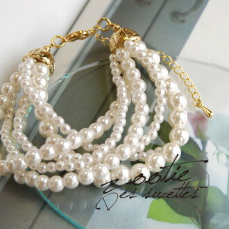 Multi-bracelet heavy put pearl beads of different sizes small and large. Easy adjustable hook hook size adjustable by unchecking the ♪ cute women's Bangle accessories ◆ zootie (SETI): fake pearls 6 bracelet