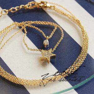 キラキラ輝くお星さまと小粒のラインストーンが寄り添う、上品な二連ネックレス。華奢・繊細...
