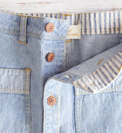 06075c87f588 くったり柔らかい10ozデニムを使った台形シルエットのデニムスカート。フロントボタンの可愛らしいデザインです。所々にあしらわれたパッチやダメージ加工、ステッチ  ...