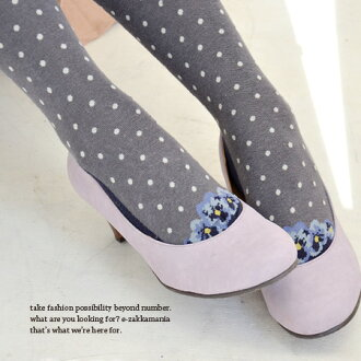 Looks like flower pumps worn ♪ even babe tricking painting dots tights! A cute small errand in style against cold! and trompe-legwear and footwear / socks / socks / polka ◆ trompe l'oeil flower pumps dot tights
