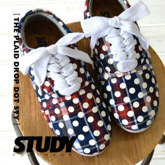 Polka dot print on a tartan plaid pattern Oxford shoes. a 2.5 cm width thick shoe laces & basic locate sneaker/インヒール with shoelaces and with change can be a 2-WAY /FW1316 ◆ STUDY ( study ) THE PLAID DROP DOT