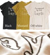 LaylaステッチロゴバタフライスリーブTシャツ