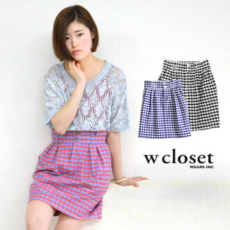 Cute tops in kimaru, pencil skirt knee-knee-length women's summer medium ◆ w closet (double closet): ギンガムチェックウエストフリルコクーン skirt