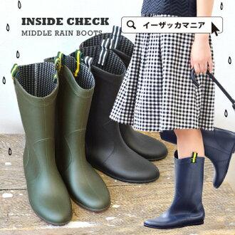 把它放在靴子雨鞋。甚至在下雨天逗留鋒利手上時尚,簡單膝蓋高的靴子 ♪ 假貨科技防水規格橡膠靴女士雨齒輪頭鞋婦女的鞋子多雨雪雨靴 ML430 ◆ ribontapetab 內部檢查中間雨靴
