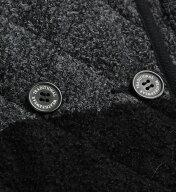 LUTONブークレーボーダーダブルボタンキルティングフードジャケット