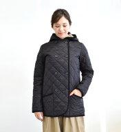 TraditionalWeatherwear(トラディショナルウェザーウェア):LUTONレオパードライナーキルトコートダブルボタンキルティングフードジャケット