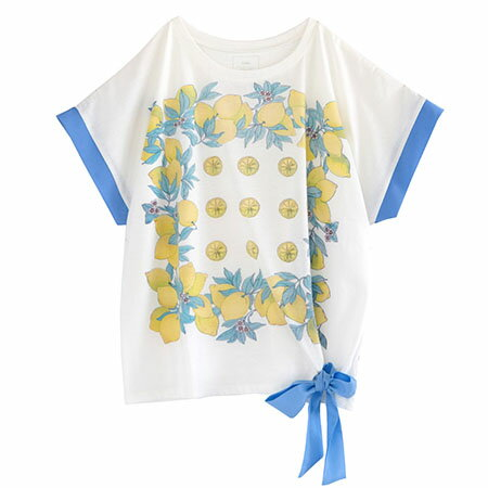 リボン付 デザインプリント ドルマンTシャツ(商品画像)