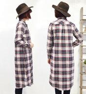 チェック&ホワイトコットンロングシャツ