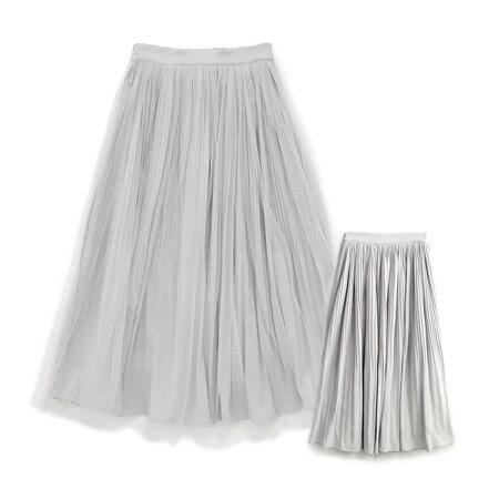チュール&プリーツ リバーシブルロングスカート (商品画像)
