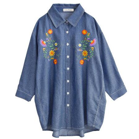 フラワーエンブロイダリー ダンガリーシャツ(商品画像)